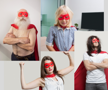 4 everyday superheroes with red masks